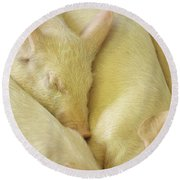 Pigs Sleeping Round Beach Towel