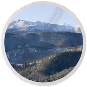 Pike National Forest In Snow Round Beach Towel