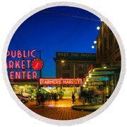 Pike Place Market Round Beach Towel by Inge Johnsson
