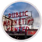 Pike Place Public Market Neon Sign Round Beach Towel