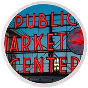 Pike Place Public Market Seattle Round Beach Towel