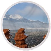 Pikes Peak In The Clouds Round Beach Towel
