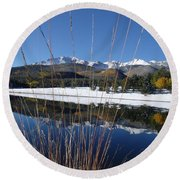 Pikes Peak Through The Grass Round Beach Towel