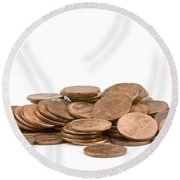 Pile Of American Pennies On White Background Round Beach Towel