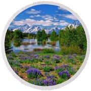 Pilgrim Creek Wildflowers Round Beach Towel