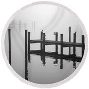 Pilings In The Fog Round Beach Towel
