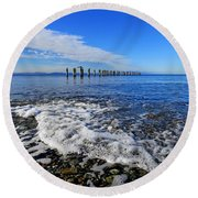 Pilings In The Ocean Round Beach Towel