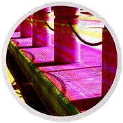 Pillars And Chains - Color Rays Round Beach Towel