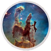 Pillars Of Creation In High Definition - Eagle Nebula Round Beach Towel
