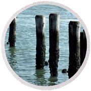 Pillars Of The Sea Round Beach Towel