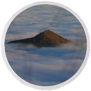 Pilot Mountain Shrouded In Fog-blue Ridge Parkway Round Beach Towel