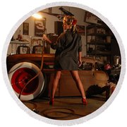 Pin Up Girl With Blow Torch Round Beach Towel
