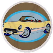 Pin Up Vette Round Beach Towel