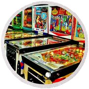 Pinball Alley Round Beach Towel by Benjamin Yeager
