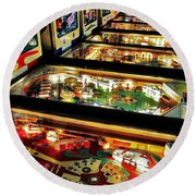 Pinball Arcade Round Beach Towel by Benjamin Yeager