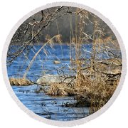 Pine Acres Lake Blues  Round Beach Towel