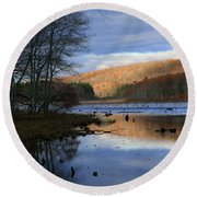 Pine Acres Lake Reflections  Round Beach Towel