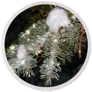 Pine Branch With Ice And Stars Round Beach Towel