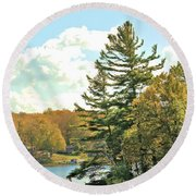 Pine By The Water Round Beach Towel