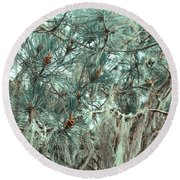 Pine Cones And Lace Lichen Round Beach Towel