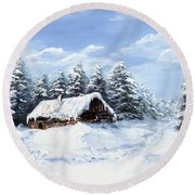 Pine Forest In Winter Round Beach Towel