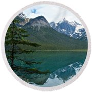 Pine Over Emerald Lake Reflection In Yoho National Park-british Columbia-canada Round Beach Towel
