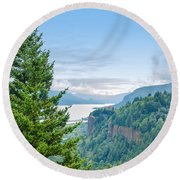 Pine Tree And Columbia River Gorge Round Beach Towel