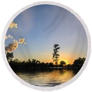Pine Tree At Sunset Round Beach Towel