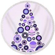 Pine Tree Ornaments - Purple Round Beach Towel