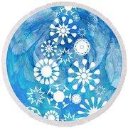 Pine Tree Snowflakes - Baby Blue Round Beach Towel