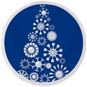 Pine Tree Snowflakes - Dark Blue Round Beach Towel