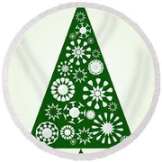 Pine Tree Snowflakes - Green Round Beach Towel