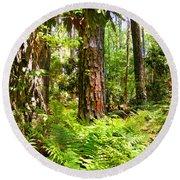 Pine Trees And Ferns Round Beach Towel