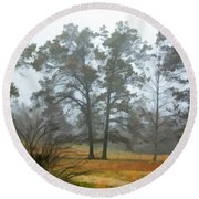 Pine Trees In Mist - Digital Paint 1 Round Beach Towel