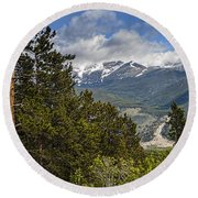 Pine Trees In The Rocky Mountain National Park Round Beach Towel