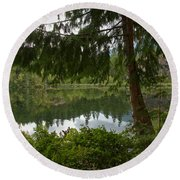 Pine Trees Over Starvation Lake Round Beach Towel