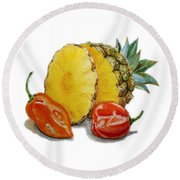 Pineapple And Habanero Peppers  Round Beach Towel