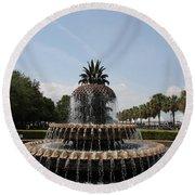 Pineapple Fountain Charleston Round Beach Towel