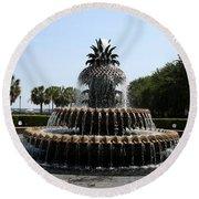 Pineapple Fountain Charleston River Park Round Beach Towel