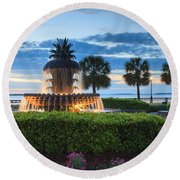 Pineapple Fountain Charleston South Carolina Sc Round Beach Towel