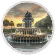 Pineapple Fountain Sunset Round Beach Towel