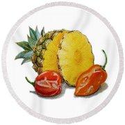 Pineapple Habanero Muy Caliente   Round Beach Towel