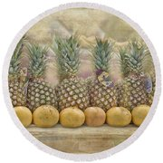 Pineapples And Grapefruit Round Beach Towel