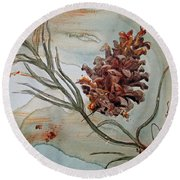 Pinecone Round Beach Towel
