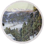 Pines In Winter Round Beach Towel