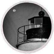 Piney Point Lighthouse And Moon In Black And White Round Beach Towel