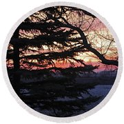 Piney Sunset Round Beach Towel