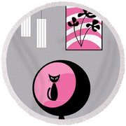 Pink 3 On Gray Round Beach Towel