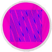 Pink And Blue Abstract Round Beach Towel