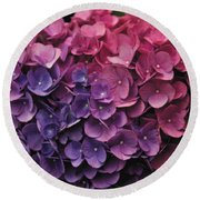 Pink And Blue Hydrangea Round Beach Towel